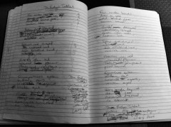 Eliot North. Notebook of Eliot North - preliminary writings for 'The Evelyn Tables'