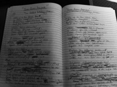 Eliot North. Notebook of Eliot North - preliminary writings for 'Dare Quam Accipere, The Gordon Museum of Pathology'