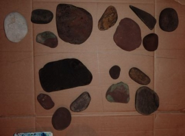 Collection of pebbles from Abergavenny