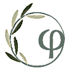 Greek letter F encircled by an olive tree branch with green leaves
