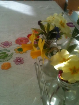 tablecloth and garden flowers
