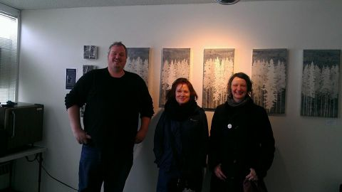 Wendy Williams, Jean McEwan and Sean Huntington in his studio