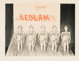 David Hockney, 8a. The Bedlam, A Rake's Progress, 1961-63, Courtesy: Whitworth Art Gallery, The Univ