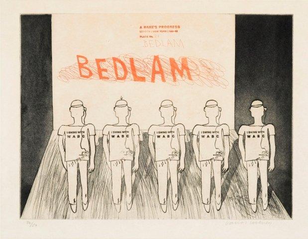 David Hockney, 8a. The Bedlam, A Rake's Progress, 1961-63, Courtesy: Whitworth Art Gallery, The Univ