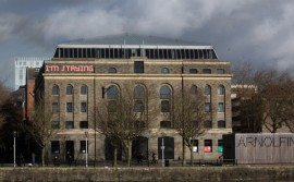 Arnolfini, Bristol, with public artwork, I'm Staying, by Shaun C Badham