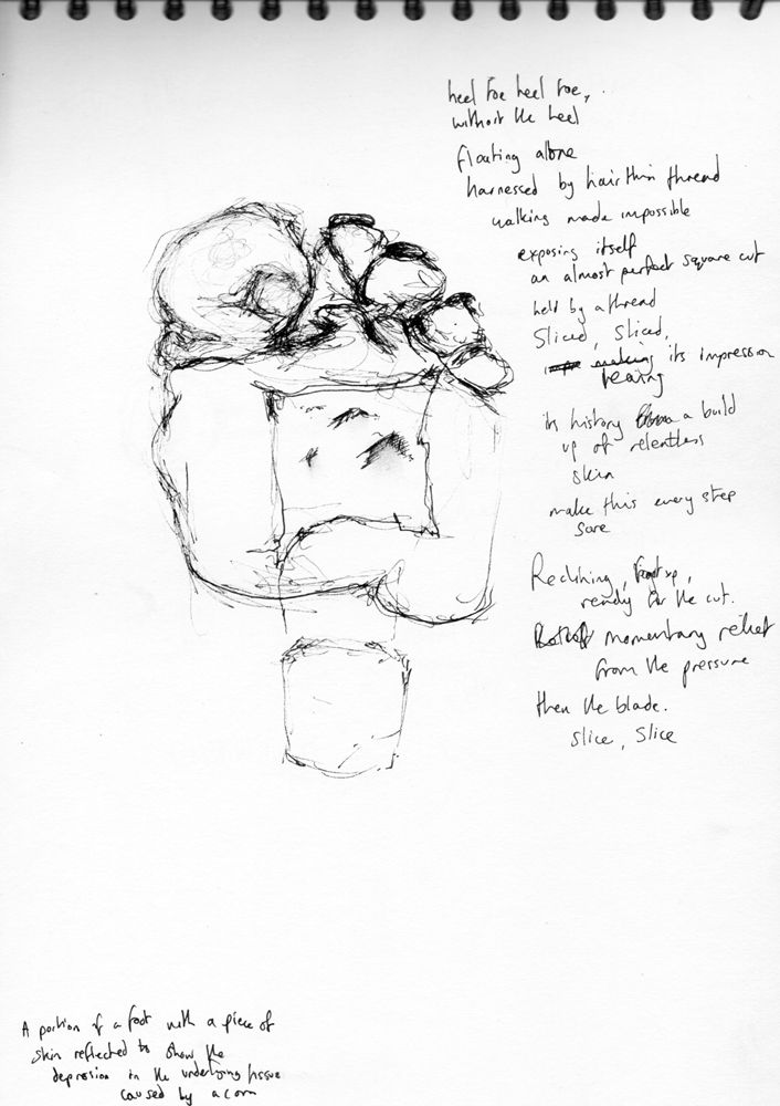 Heel-toe-heel-toe. Drawing and poem from Hunterian Museum