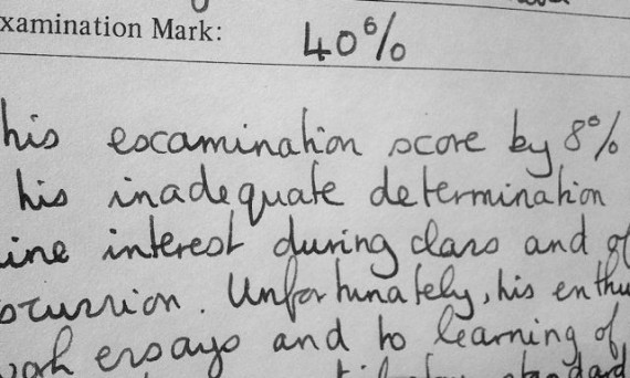 a section of writing from a school report