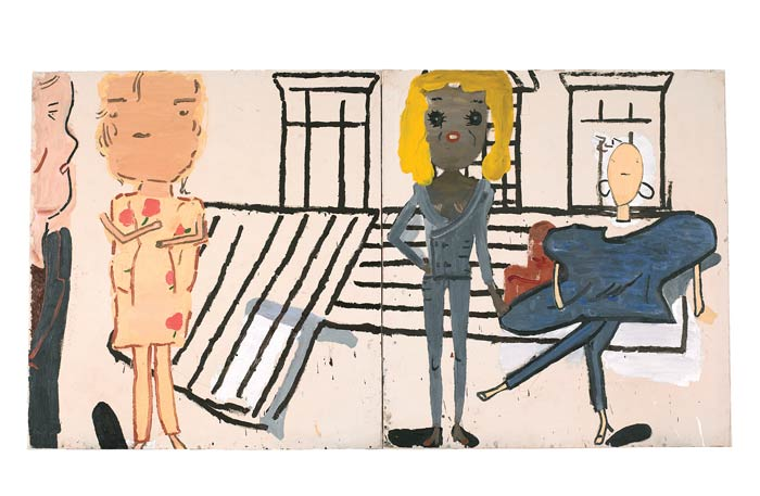 Rose Wylie, PV Windows and Floorboards, oil on canvas, 2012