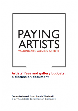 Artists fees and gallery budgets - a discussion document