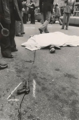 A police bodyguard lies dead after Red Brigades ambush and kidnap Aldo Moro, via Fani, Rome, 16 March 1978.