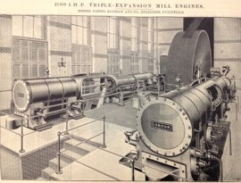 "1892 Triple-expansion mill engine; the cylinders are named ""Capital""and ""Labour"". Source: The Textile Manufacturer, 1893."