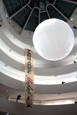 Gulf Ultra Luxury Front (GULF) action at the Guggenheim Museum, New York on Wednesday 5 November 2014.  Photo from Occupy Museums.