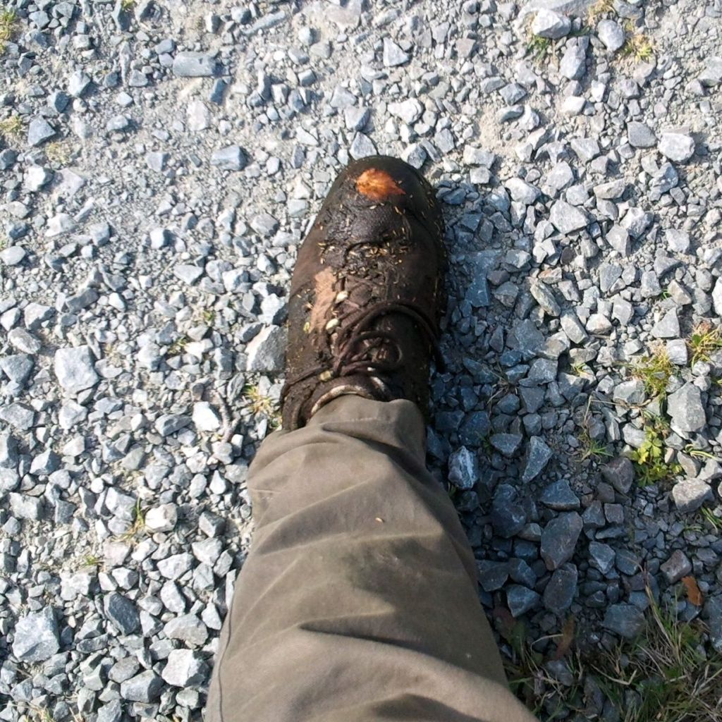 a muddy shoe on a foot shot from above