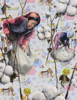 "Alke Schmidt, ""Childs' Play"", oil on printed cotton fabric, 70 x 90 cm"
