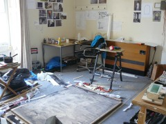 A rather messy studio during install.