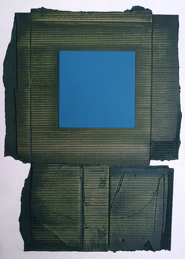 corugated card, mixed media, collage, oil paint, green, blue, square, geometric.