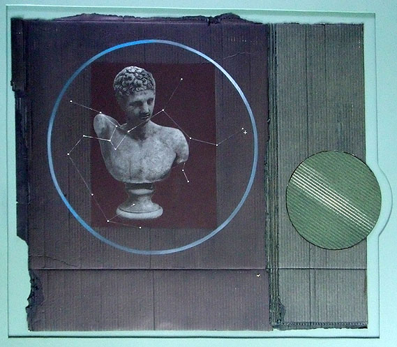 recycled, mixed media, corrugated card, blue,collage, Graeco-Roman image, circles, constellation,