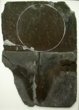 recycled slate, scratched circle,