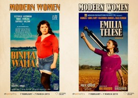 Poster for Modern Women exhibition at Airspace Gallery, featuring Binita Walia and Emilie Telese
