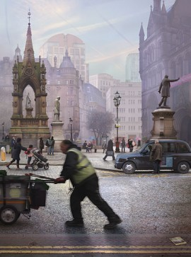 photographic collage by Emily Allchurch of Albert Square, Manchester after a painting by Valette