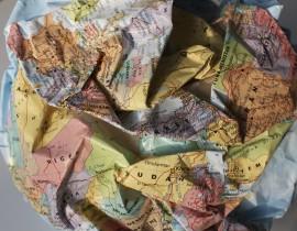 Craig Wood, Mapping series (Crumped Globe), detail, 2015, mixed media