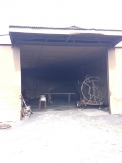 the sand blasting shed!