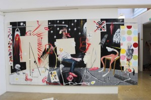 Dale Lewis, Art Collector, oil and spray paint on canvas, 200x400cm, 2015.