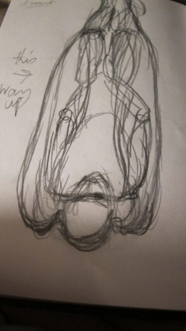 "Body suspended (drawing for ""Angel's Nightie"") front view"