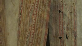 "In Glasgow, and thinking about ""Angel's Nightie"": detail of caribou hide hunting coat"