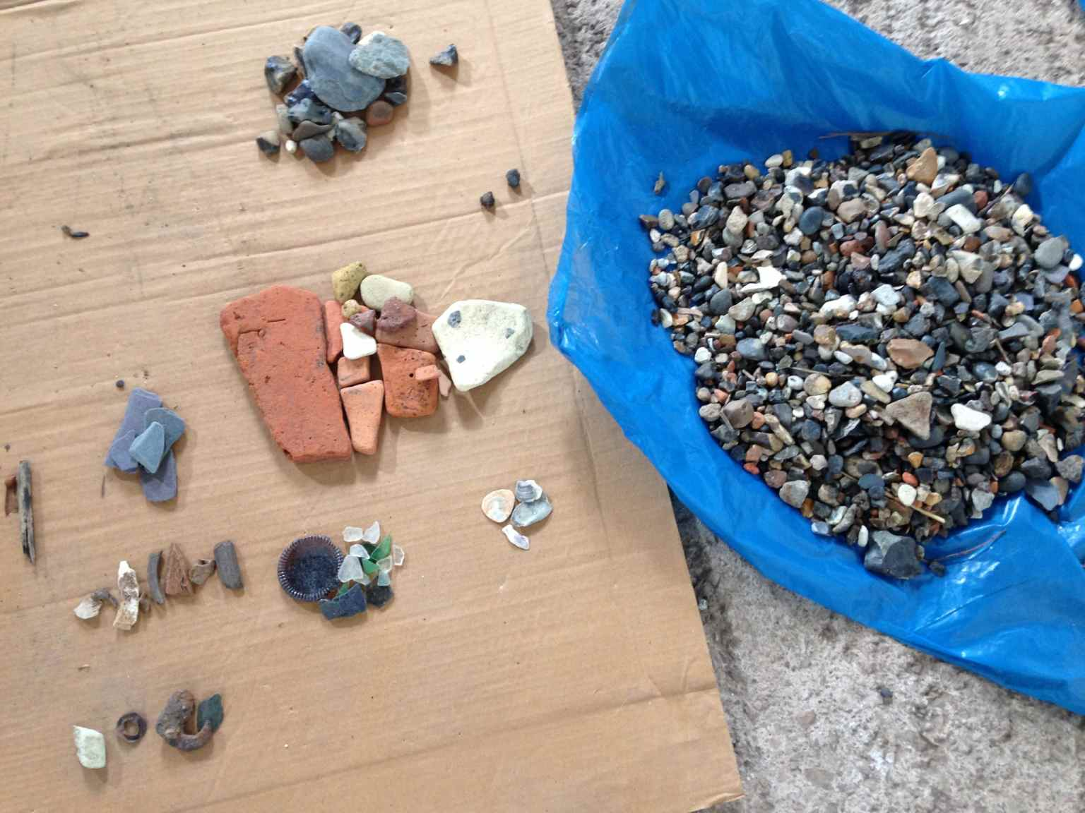 all the material removed from the sand was then sorted in to categories- bone, stone, glass, ceramic, man made, metal natural