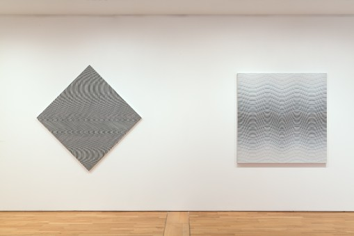 Bridget Riley: Curve Paintings 1961-2014. 4.	From left, Crest, Untitled 1. Photo: Peter White. © Bridget Riley 2015. All rights reserved, courtesy Karsten Schubert, London