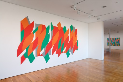 Bridget Riley: Curve Paintings 1961-2014. 	From left, Rajasthan, Lagoon 2. Photo: Peter White. © Bridget Riley 2015. All rights reserved, courtesy Karsten Schubert, London