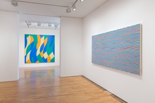 Bridget Riley: Curve Paintings 1961-2014. 10.	From left, Rêve, Streak 2. Photo: Peter White. © Bridget Riley 2015. All rights reserved, courtesy Karsten Schubert, London