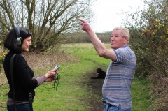 Layla Curtis interviewing local resident at Freeman's Wood