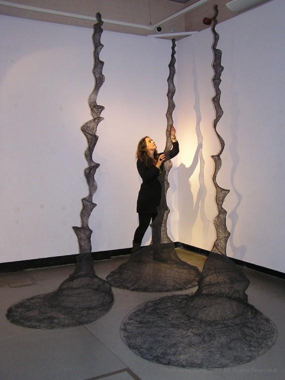 Ruth Broadbent, Thread Form (Drawing) I-III, 2012