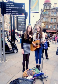 the tee sharps, busking, newcastle