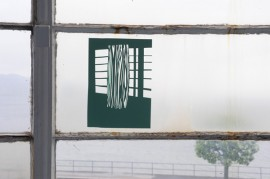 A4 card cut-out, stuck to window.  Photo - Alan Dimmick