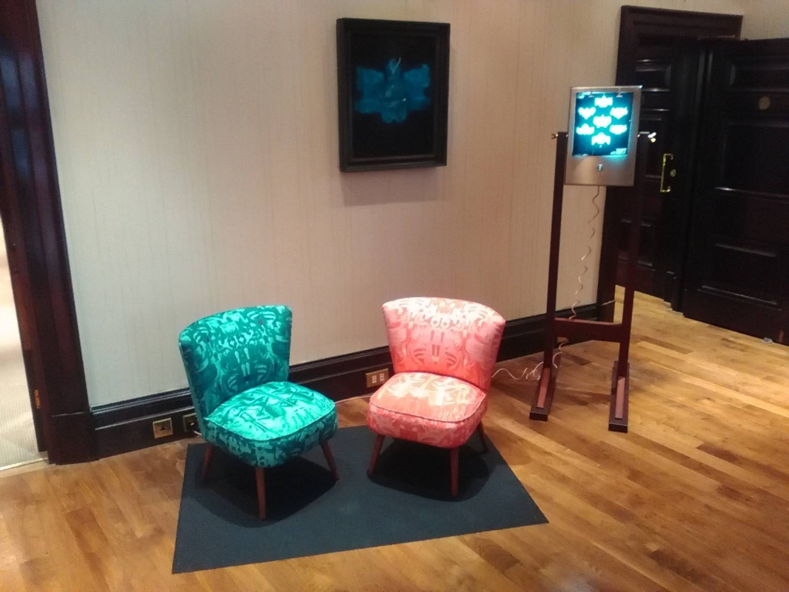 'Kleckztale Chairs', and 'A Study for Above the Shoulders' by Mike Chavez-Dawson and 'Pablo Picasso - Untitled Portrait' by Simon Attard.