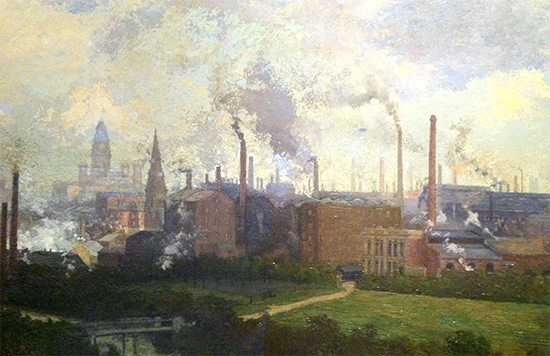 Samuel towers, Bolton from Queen's Park (detail), 1896-97. Bolton Museum