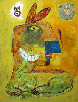 Moich Abrahams, Creature Dreaming, Mixed Medium On Canvas