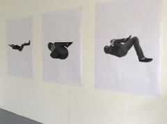 Edited photographs made into large photocopies - great starting point for playing with ideas through drawing.