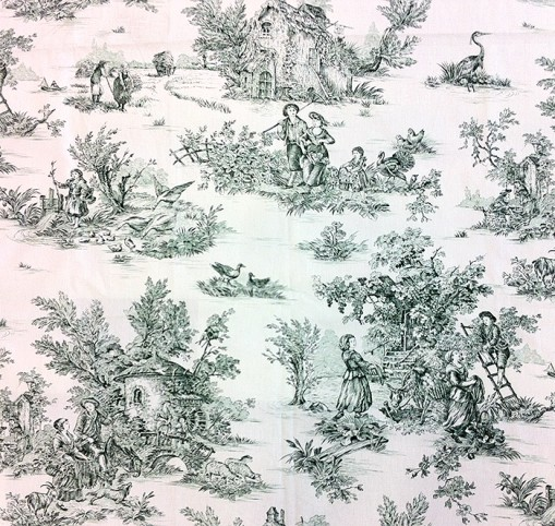 Green Toile de Jouy used  in my work inspired by Arkwright. Fabric sourced from www.stoffe.de