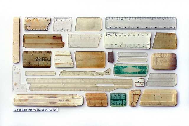 Steve McPherson, 28 Objects That Measured The World, plastic objects, entomology pins, and text on card. Courtesy: the artist