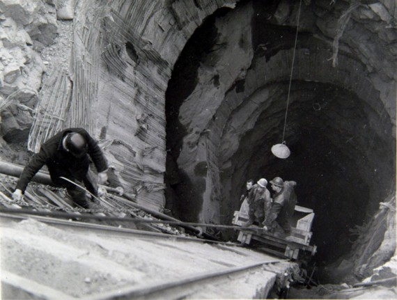 Men work on a tailrace tunnel for Cruachan Power Station, 1963. Photographer unknown, courtesy of The Herald & Times Group