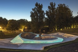 Evertro by Koo Jeong A x Wheelscape at dusk. Photo: Thierry Bal