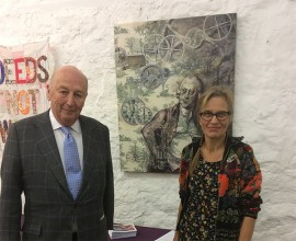 At the opening of Tangled Yarns at Cromford Mills, with the Duke of Devonshire in front of the new work specially made for Cromford Mills: 'A Man of Consequences'