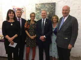 At the opening with Sarah McLeod CEO Arkwright Society, John Rivers Chairman of the Board of Trustees Arkwright Society, Oliver Stephenson High Sheriff of Derbyshire & Fiona Stephenson, and the Duke of Devonshire