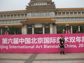 Fiona Stanbury outside the National Art Museum of China for the 6th Beijing International Art Biennale