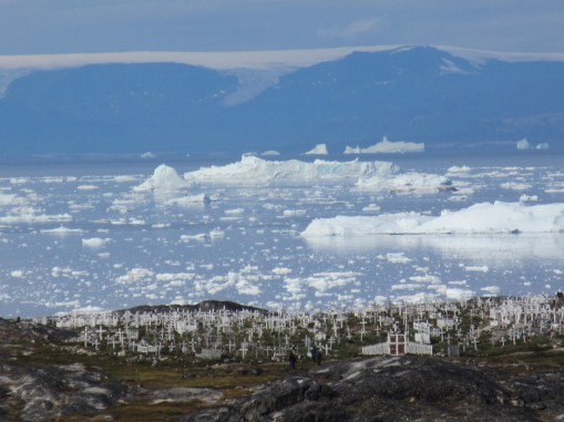Ilulissat cemetery from Disko Bay. Photo: Nancy Campbell. http://nancycampbell.co.uk
