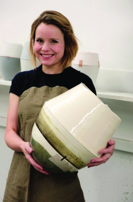 Hannah Tounsend with one of her ceramic pieces